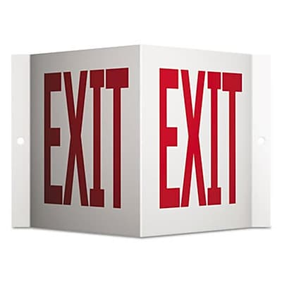 Quartet Red and White Projecting 3-Way Sign, Exit - 6 x 9 in. (AZTY11615)