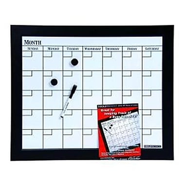 Dooley Manufacturing Co Wood Framed Magnetic 1 Month Dry Erase Calendar Board 18x22 Black (DGC12438)