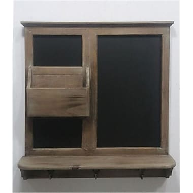 TWG Wooden Messenger Chalkboard with Shelf and Hanging Hooks (TWGHS109)