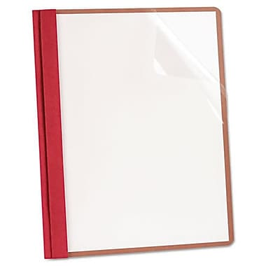 Oxford Earthwise Recycled Clear Front Report Covers - letter Size, Red (AZTY10638)