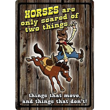 12 in. x 17 in. Tin Sign - Horses Are Scared (GS184628)