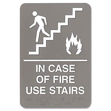 U. S. Stamp and Sign 6 x 9 ADA Sign In Case Of Fire Use Stairs, Gray (AZTY15829)