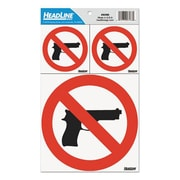 U. S. Stamp and Sign Self-Stick No Guns Decal, Red and White (AZTY15830)