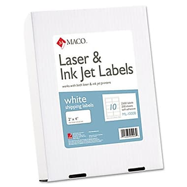 Mac White All-Purpose labels 2 x 4 2500/Box (AZMACMl1000B)