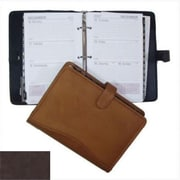 David King and Co 7 in. x 10 in. Zippered 3 Ring Agenda with Handle- Cafe (DVDK017)