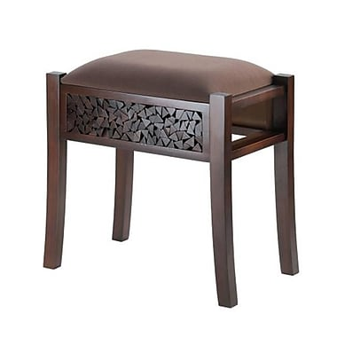 Home locomotion Rectangle Wood Padded Foot Stool (SWM12804)
