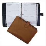 David King and Co 7 in. x 10 in. Zippered 3 Ring Agenda with Handle- Tan (DVDK018)