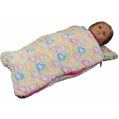 The Queens Treasures 18 in. Doll Sleeping Bag for American Girl Dolls, Green (TQST103)