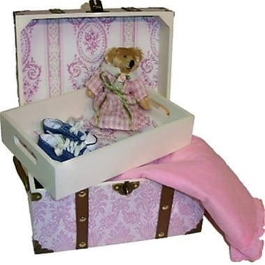 The Queens Treasure Doll Steamer Trunk for 18 Inch American Girl Dolls Pretty in Pink (TQST027)