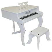 Schoenhut Toy Piano 30 key White Fancy Baby Grand with Bench (SHTP020)