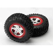 Traxxas Red Beadlock Tires and Sct Satin Chrome Wheels Slayer (RCHOB1333)