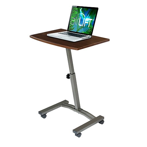 "AIRLIFT Mobile Laptop Computer Desk Cart Height-Adjustable from 20.5"" to 33"", Slim, Walnut"
