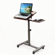 "AIRLIFT Tilting Sit-Stand Computer Desk Cart with Mouse Pad Table, Height-Adjustable from 27.5"" to 40"" H, Walnut"