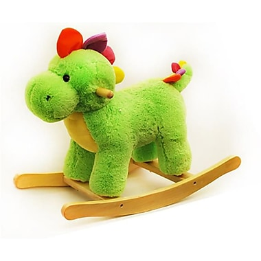 Ponyland Toys 24 in. Green Plush Rocking Dinosaur (GRPS057386)