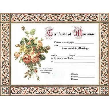 B and H Publishing Group Certificate Marriage 4 Color (ANCRD48676)