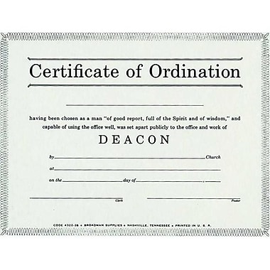 B and H Publishing Group Certificate Ordination Deacon Billfold Size (ANCRD34928)