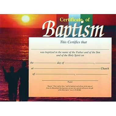 B and H Publishing Group Certificate Baptism Sunset 4 Color (ANCRD50782)