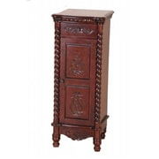 International Caravan Inc Carved Wood 1 Drawer-1 Door Tall Cabinet - Brown (ITCR229)