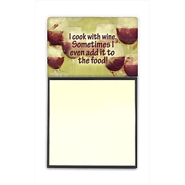 Carolines Treasures I cook with wine Refiillable Sticky Note Holder or Postit Note Dispenser, 3 x 3 In. (CRlT60335)