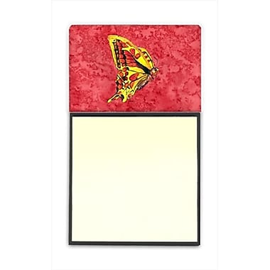 Carolines Treasures Butterfly on Red Refiillable Sticky Note Holder or Postit Note Dispenser, 3 x 3 In. (CRlT60210)