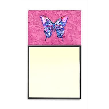 Carolines Treasures Butterfly on Pink Refiillable Sticky Note Holder or Postit Note Dispenser, 3 x 3 In. (CRlT60207)