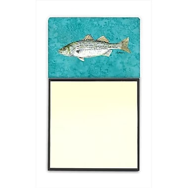 Carolines Treasures Striped Bass Fish Refiillable Sticky Note Holder or Postit Note Dispenser, 3 x 3 In. (CRlT60153)