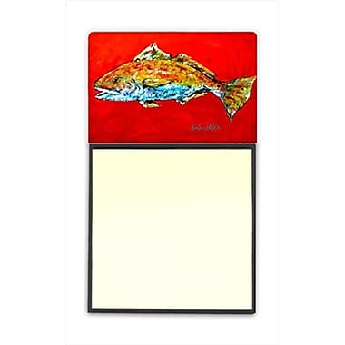 Carolines Treasures Fish - Red Fish Red Head Refiillable Sticky Note Holder or Postit Note Dispenser, 3 x 3 In. (CRlT60082)