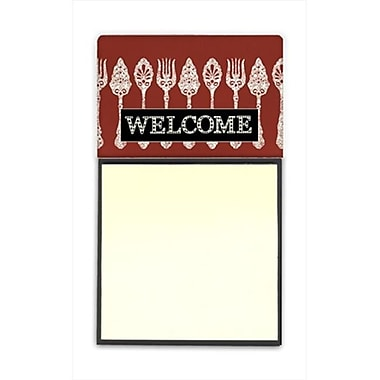 Carolines Treasures Serving Spoons Welcome Refiillable Sticky Note Holder or Postit Note Dispenser, 3 x 3 In. (CRlT60351)