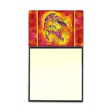 Carolines Treasures Bright Shrimp on Red Refiillable Sticky Note Holder or Postit Note Dispenser, 3 x 3 In. (CRlT59942)