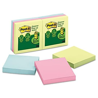 Post-It Greener Notes Recycled Pop-Up Notes Refill 3 x 3 Sunwashed Pier 6 100-Sheet Pads (AZERTY6978)