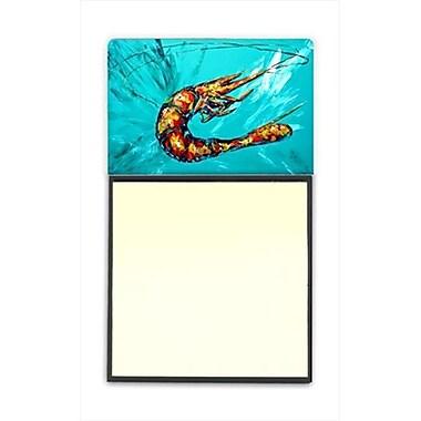 Carolines Treasures Shrimp Teal Shrimp Refiillable Sticky Note Holder or Postit Note Dispenser, 3 x 3 In. (CRlT59953)