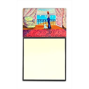 Carolines Treasures Westie with Mom and a view Refiillable Sticky Note Holder or Postit Note Dispenser, 3 x 3 In. (CRlT59888)