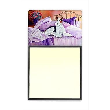 Carolines Treasures Fox Terrier Waiting on Mom Refiillable Sticky Note Holder or Postit Note Dispenser, 3 x 3 In. (CRlT59886)