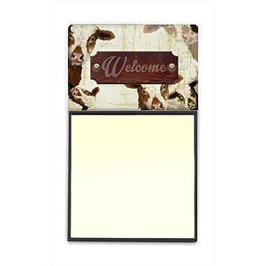 Carolines Treasures Welcome cow Refiillable Sticky Note Holder or Postit Note Dispenser, 3 x 3 In. (CRlT60331)