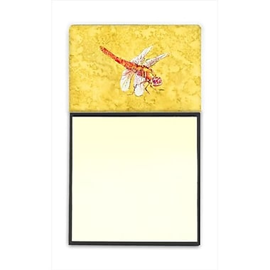 Carolines Treasures Dragonfly on Yellow Refiillable Sticky Note Holder or Postit Note Dispenser, 3 x 3 In. (CRlT60214)