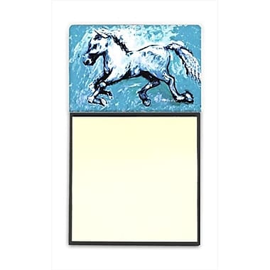 Carolines Treasures Shadow the Horse in blue Refiillable Sticky Note Holder or Postit Note Dispenser, 3 x 3 In. (CRlT60279)