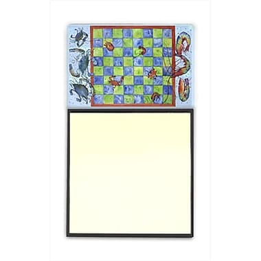 Carolines Treasures Crab and Shrimp Checkerboard Refiillable Sticky Note Holder or Postit Note Dispenser, 3 x 3 In. (CRlT60035)