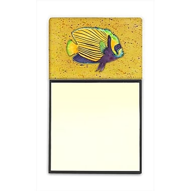 Carolines Treasures Tropical Fish on Mustard Refiillable Sticky Note Holder or Postit Note Dispenser, 3 x 3 In. (CRlT59999)