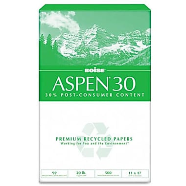 Boise ASPEN 30 Office Paper- 92 Brightness- 20lb- 11 x 17- White- 2500 Sheets/Carton (AZBOIS054907)
