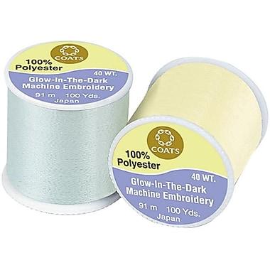 Coats - Thread and Zippers Glow In The Dark Machine Embroidery Thread 100 Yards-White (NTMKGP10196)