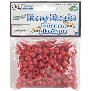 American Classics Corp 491900 Barrel Pony Beads 9mmx6mm 175-Pkg-Red (NMG47939)