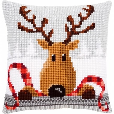 Reindeer With A Red Scarf I Cushion Cross Stitch Kit - 16 x 16 in. (NMG114637)