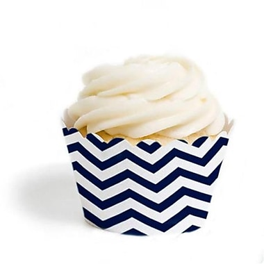 Dress My Cupcake Chevron Cupcake Wrappers, Navy Blue, Pack of 48 (DMCC080)