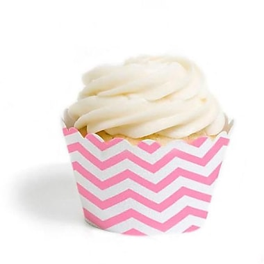 Dress My Cupcake Chevron Cupcake Wrappers, Pink, Pack of 48 (DMCC067)