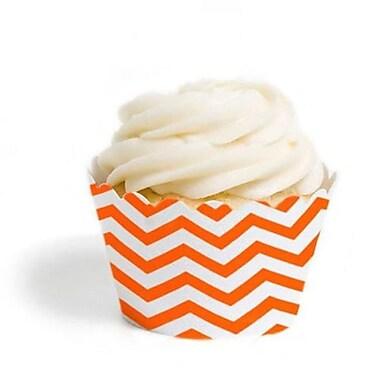 Dress My Cupcake Chevron Cupcake Wrappers, Orange, Pack of 48 (DMCC071)