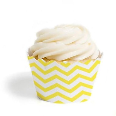 Dress My Cupcake Chevron Cupcake Wrappers, Yellow, Pack of 48 (DMCC073)