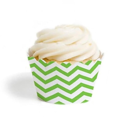 Dress My Cupcake Chevron Cupcake Wrappers, Kiwi Green, Pack of 48 (DMCC074)