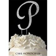 De Yi Enterprise Monogram Cake Toppers - Silver Rhinestone - P (DEYI301)