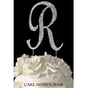 De Yi Enterprise Monogram Cake Toppers - Silver Rhinestone - R (DEYI303)