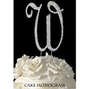 De Yi Enterprise Monogram Cake Toppers - Silver Rhinestone - W (DEYI308)